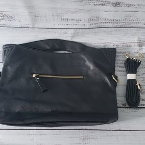 NWOT Black PU Baguette with Crossbody Strap